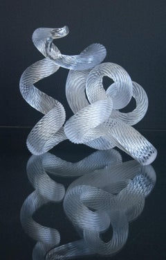 Surf Clear No 1A - translucent, elegant, shaped blown glass, table top sculpture