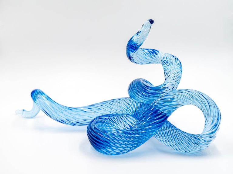 Surf Series H20 7 - translucent, blue, shaped solid glass, table top sculpture - Contemporary Sculpture by John Paul Robinson