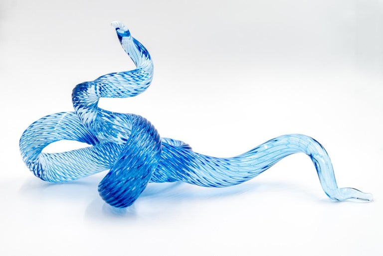 John Paul Robinson Abstract Sculpture - Surf Series H20 7 - translucent, blue, shaped solid glass, table top sculpture