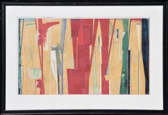 Large Modern Abstract Geometric Red, Yellow & Green Mixed Media Collage Painting