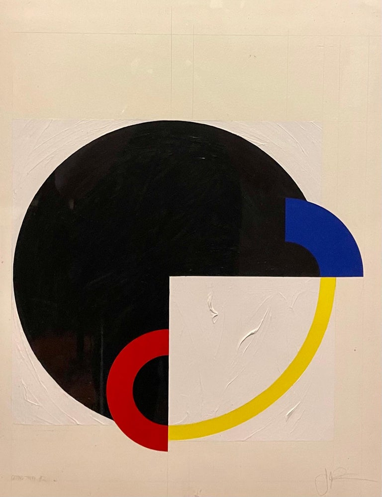 John Pearson (Born 1940)  Acrylic on Paper, 1986 GETTING THERE #2  25 x 19 inches sight.  Provenance: Art Advisory Services Inc. NY NY. Reader's Digest corporate collection  Red, White, Blue, Black and Yellow abstract geometric painting. Circle and