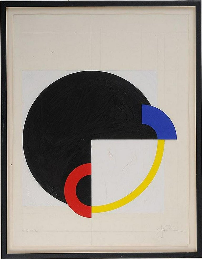 John Pearson Abstract Painting - Hard Edged Abstract Geometric Mod Painting