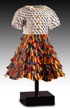 'Leah' Mixed Media, Found Object Sculpture of a Red, Blue & Orange Dress