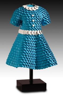 'Raina' Mixed Media, Found Object Sculpture of a Red, Blue & Orange Dress