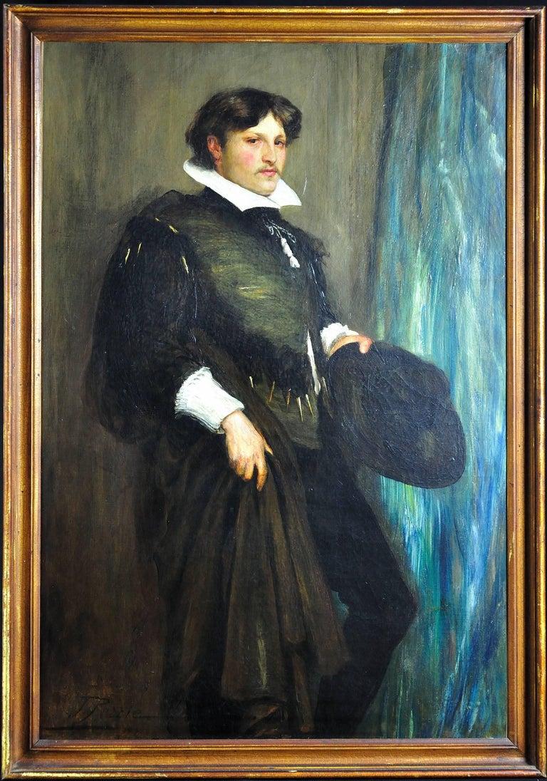 John Pettie Portrait Painting - 1887 Portrait Smith Taylor Whitehead Esq. in Theatrical 16th Century Costume.
