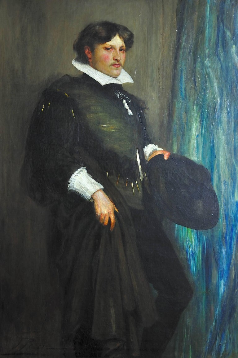 1887 Portrait Smith Taylor Whitehead Esq. in Theatrical 16th Century Costume. - Painting by John Pettie