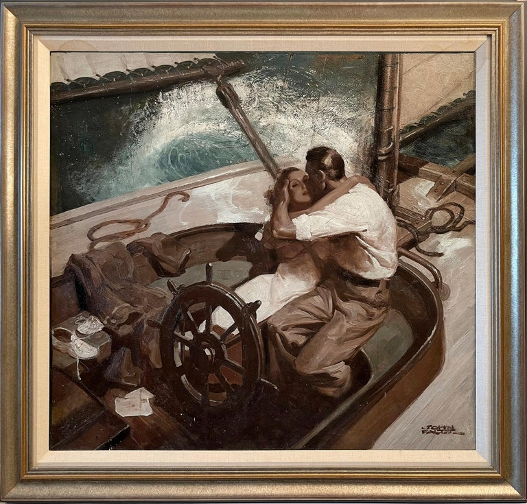 Embracing Couple on Sailboat , Art Deco Style Romantic  - Painting by John Philip Falter