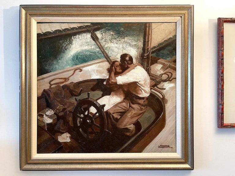 Embracing Couple on Sailboat , Art Deco Style Romantic  - Black Portrait Painting by John Philip Falter