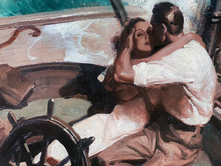 Love at sea.  A nautical romance is captured as a handsome couple embrace. The big splash of water at the peak moment of drama symbolizes passion and defines Falter's creativity in communicating a romantic narrative. This is a companion piece to a
