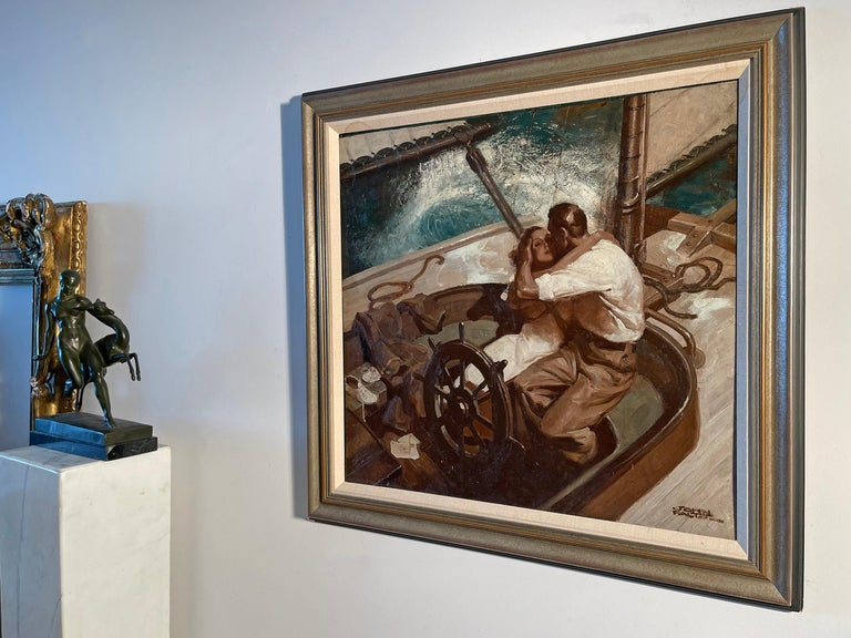 Embracing Couple on Sailboat , Art Deco Style Romantic  For Sale 3