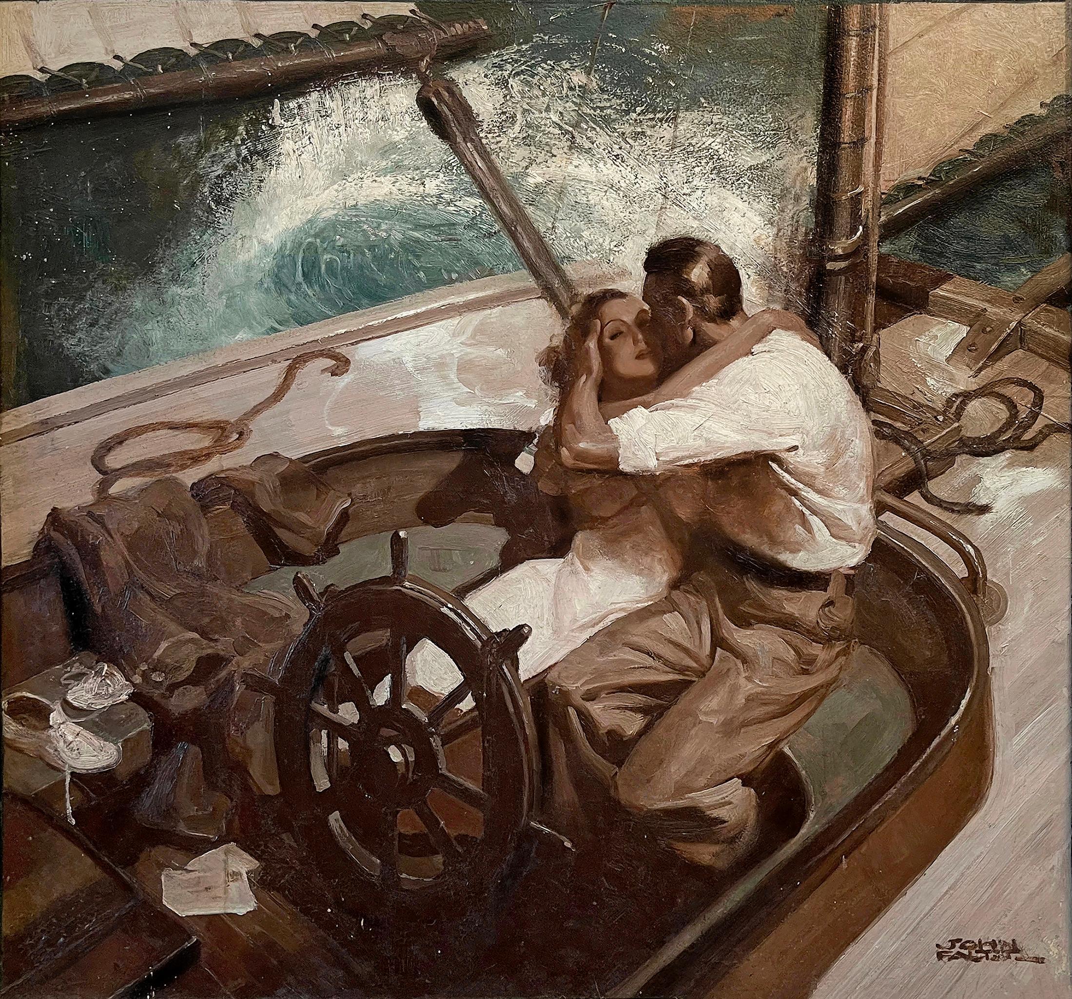 Embracing Couple on Sailboat , Art Deco Style Romantic