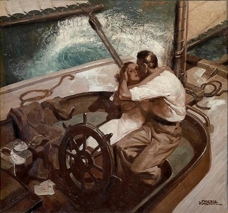 John Philip Falter Portrait Painting - Embracing Couple on Sailboat , Art Deco Style Romantic