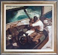 Embracing Couple on Sailboat , Art Deco Style Romantic Magazine  Illustration