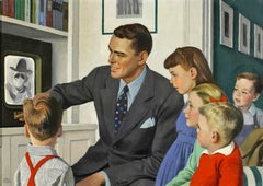 Father and children in front of TV - Mid-Century