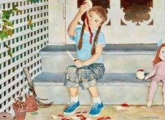 Girl Peeling Apple, Johnson & Johnson Advertisement, 1959