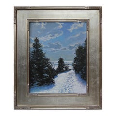 """""""Nelson Pond Trail"""" Snowy Winter Forest Landscape Naturalistic Painting"""