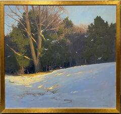 Snow, original 28x30 Hudson River School impressionist winter landscape