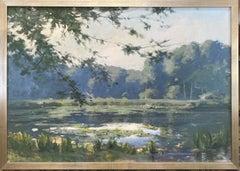 The Pond and Lilies, original 28x40 Hudson River School impressionist landscape