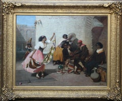 Spanish Musicians with Dancing Girl- British Victorian art oil painting portrait