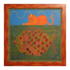 Whimsical Orange & Blue Abstract Surrealist Painting of a Cat & Large Fish