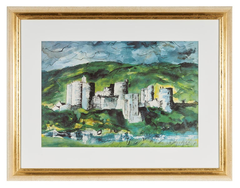 John Piper (British, 1903-1992), 'Kidwelly Castle', color lithograph on wove paper, printed in 1984 by Senecio Press, from an edition of 20 prints supplied with the book 'Deaths and Entrances' by Dylan Thomas (illustrated by Piper), mounted and