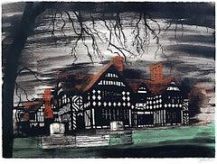 John Piper, Wightwick Manor, Screenprint Modern British Art Victorian Dream