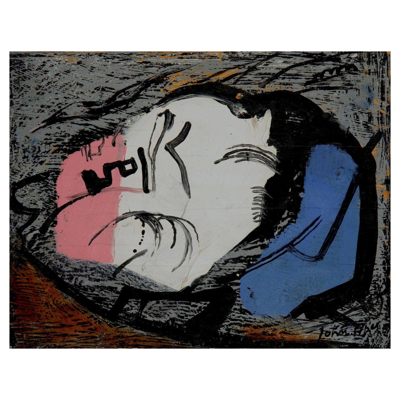 John Piper, Rock-Face, Modern British, Oil on Panel, 20th Century, Abstract