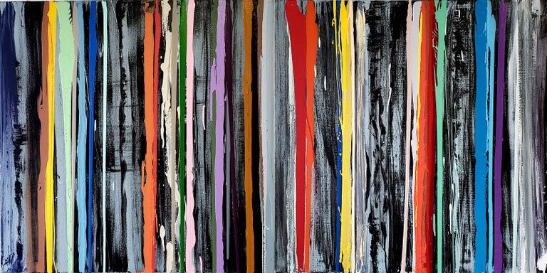 John Platt Lily Multi Colors Striped Horizontal Painting