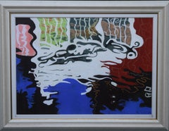 Reflections at Ockham ll - British Abstract Expressionist oil pastel landscape