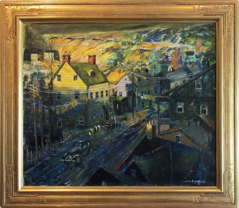 "John R. Grabach Landscape Painting - ""Evening in Newark"""