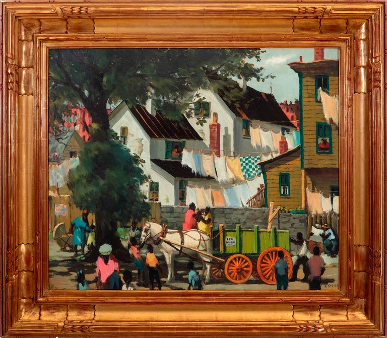 """Henry Martin Gasser Figurative Painting - """"The Green Wagon"""""""