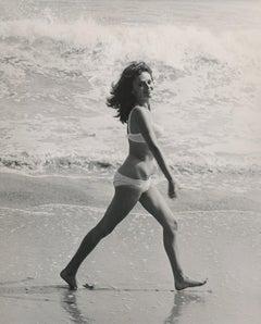 Jacqueline Bisset Walking on the Beach Fine Art Print