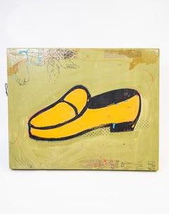 Shoe #15, Yellow Retro  Shoe Painting by John Randall Nelson