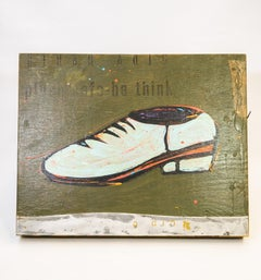 Shoe #24, Powder Blue Retro Shoe Painting by John Randall Nelson