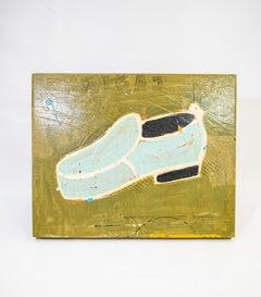 Shoe #26, Powder Blue Retro Fashion Men's Shoe Painting by John Randall Nelson