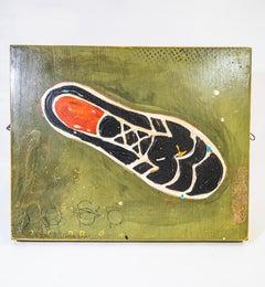 Shoe #27, Black Retro Shoe Painting by John Randall Nelson