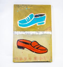 Shoe Too #4, Red and Blue Retro Shoe Painting by John Randall Nelson