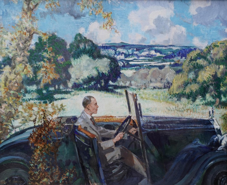 Portrait of Bradnock Principal Worcester College in Car, Malvern, oil painting - Painting by John Rankine Barclay