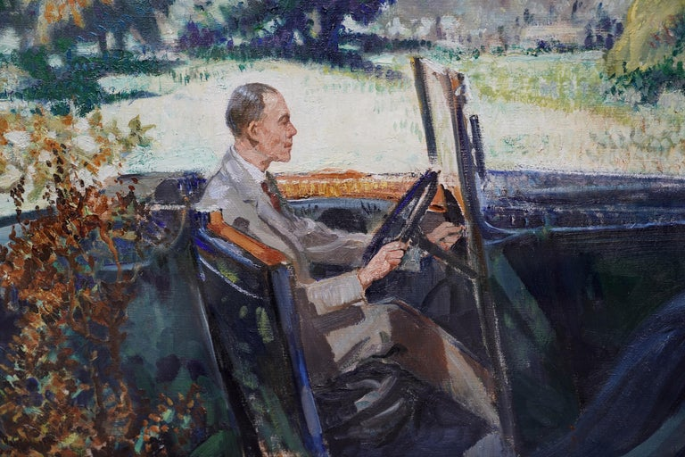 Portrait of Bradnock Principal Worcester College in Car, Malvern, oil painting - Gray Landscape Painting by John Rankine Barclay