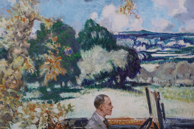 This superb British portrait oil painting is by Scottish born artist John Rankine Barclay. It was painted circa 1940 when Barclay was already living in St Ives Cornwall. The sitter is Brian Bradnock, former principal of Worcester College for the
