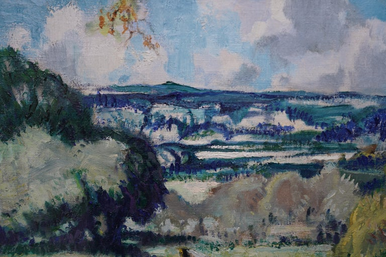Portrait of Bradnock Principal Worcester College in Car, Malvern, oil painting For Sale 1