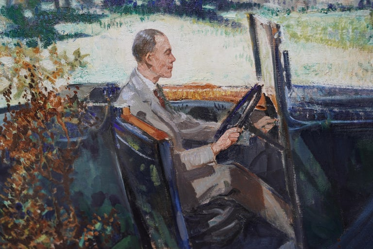 Portrait of Bradnock Principal Worcester College in Car, Malvern, oil painting For Sale 2