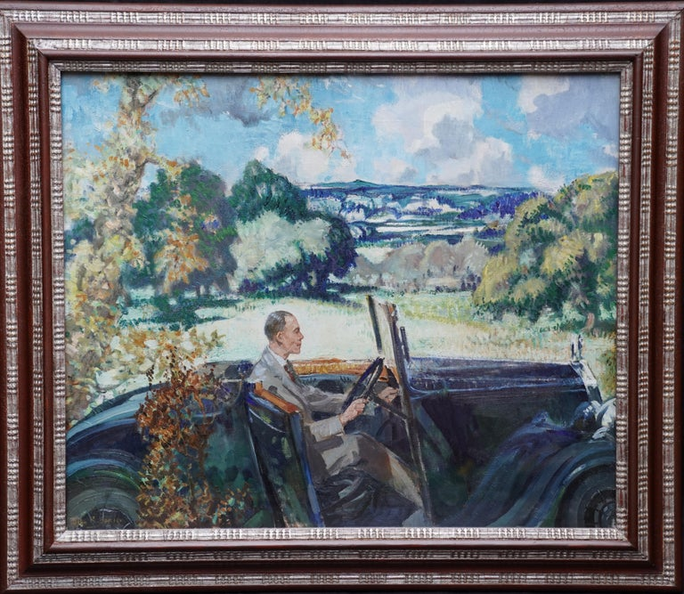 John Rankine Barclay Landscape Painting - Portrait of Bradnock Principal Worcester College in Car, Malvern, oil painting