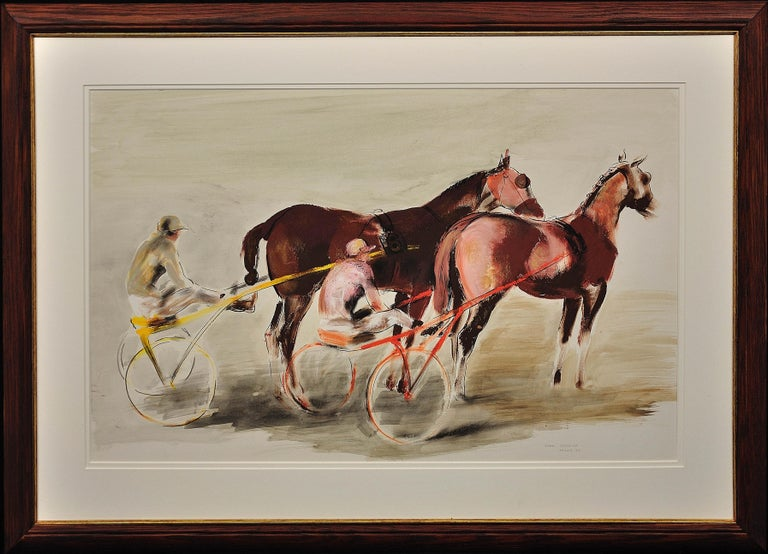 John Rattenbury Skeaping Animal Painting - Harness Racing, Arles, France, 1960. Equine.Sulky. Driver.Jockeys. Racehorses.