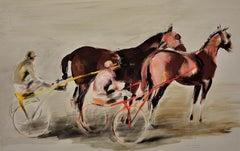 Harness Racing, Arles, France, 1960. Equine.Sulky. Driver.Jockeys. Racehorses.