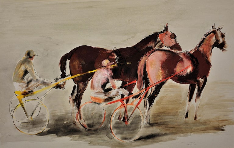 Harness Racing, Arles, France, 1960. Equine.Sulky. Driver.Jockeys. Racehorses. - Painting by John Rattenbury Skeaping