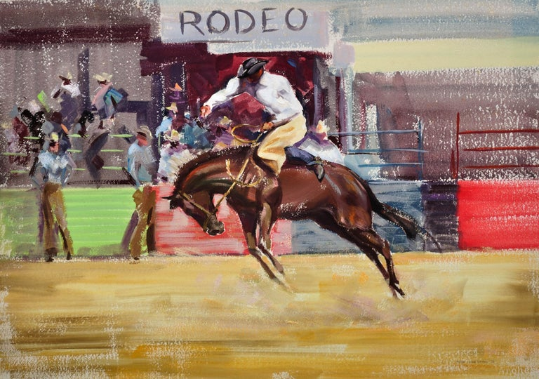 Rodeo. Bareback Bronco. Mid 20th Century. 1966. Western Cowboy Ranch Equestrian. - Painting by John Rattenbury Skeaping