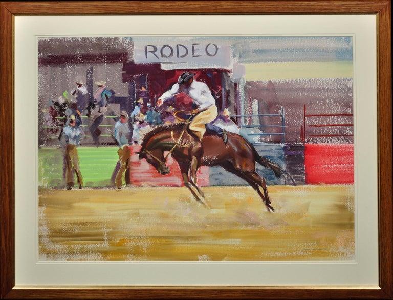 John Rattenbury Skeaping Animal Painting - Rodeo. Bareback Bronco. Mid 20th Century. 1966. Western Cowboy Ranch Equestrian.