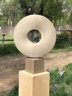 Portal, limestone sculpture, abstract, circle, John Reeves, abstract,