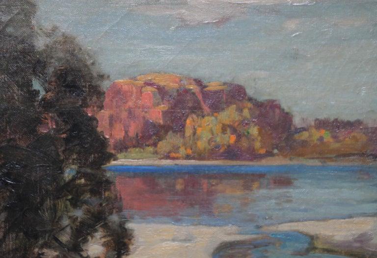 Loch Lomond - Scottish Impressionist art Glasgow Boys landscape oil painting  - Black Landscape Painting by John Reid Murray